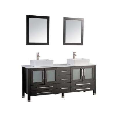 71 in. W x 20.5 in. D x 36 in. H Vanity in Espresso with Microstone Vanity Top in White with White Basin and Mirrors