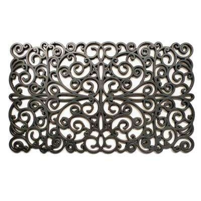 Silver Scroll Rubber Door Mat 18 in. x 30 in.