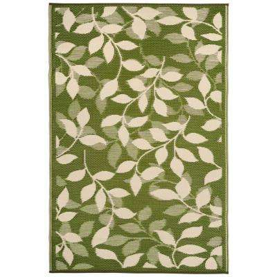 Bali Indoor/Outdoor Forest Green and Cream 6 ft. x 9 ft. Area Rug