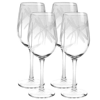 Dragonfly 12 oz. Clear White Wine Glass (Set of 4)