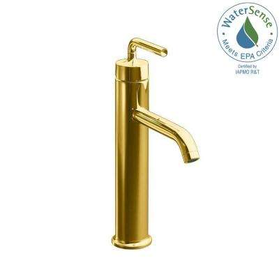 Purist Tall 1-Hole Single Handle Low-Arc Bathroom Vessel Sink Faucet in Vibrant Modern Polished Gold