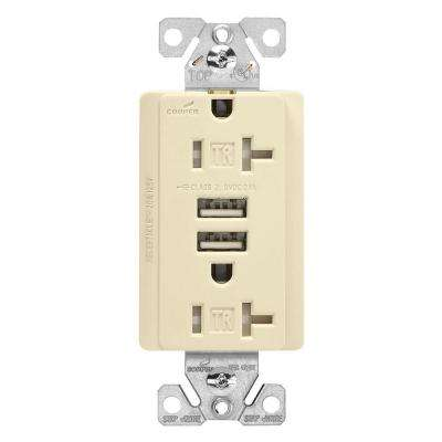20 Amp 125-Volt Combination Outlet and 2 USB 3.1 Amp Charger with Duplex Receptacle, Almond