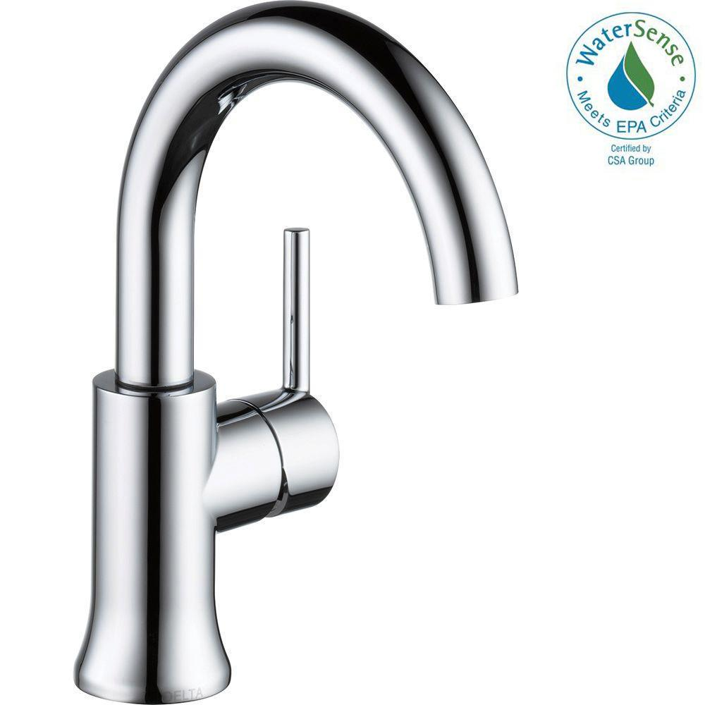 Delta Trinsic Single Hole Single Handle Bathroom Faucet With Metal Drain Assembly In Chrome