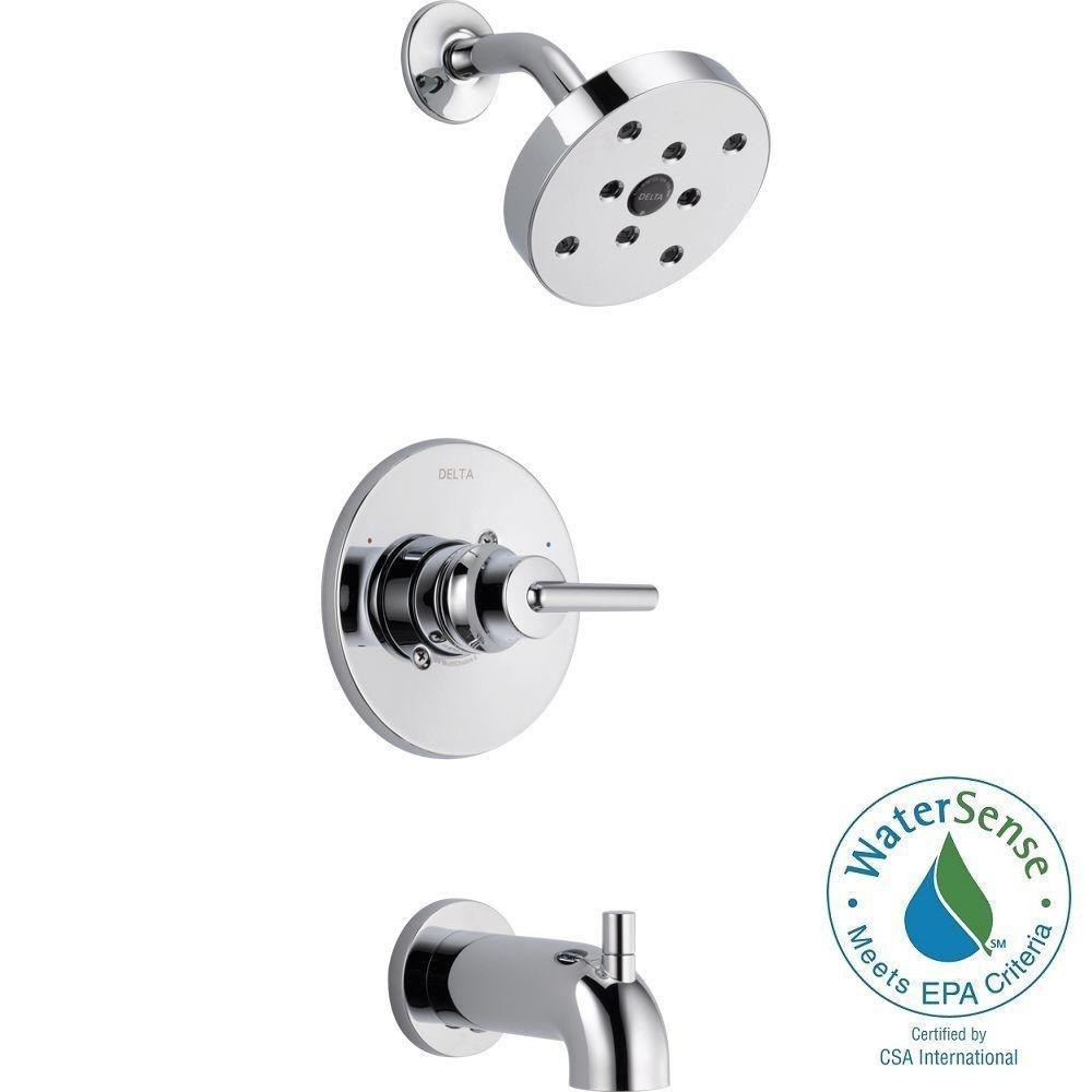 Delta Victorian 1-Handle Tub and Shower Faucet Trim Kit in Chrome ...