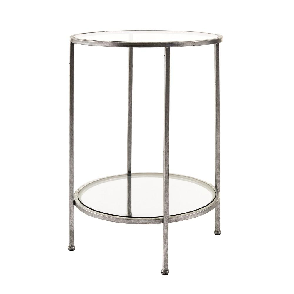 Home Decorators Collection Bella Glass Aged Silver End Table