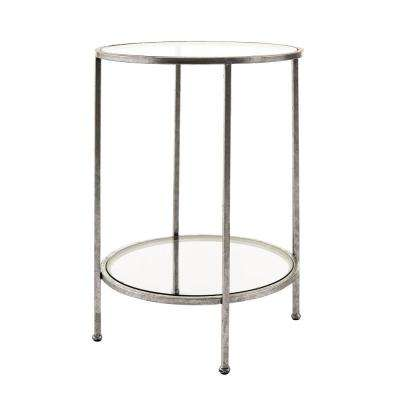 Bella Glass Aged Silver End Table