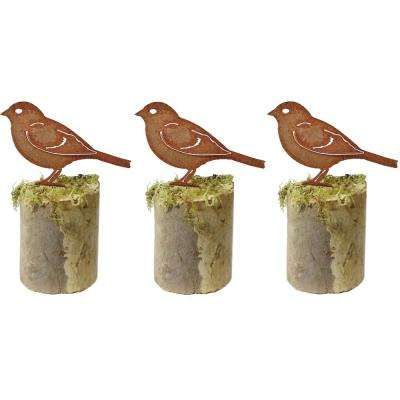5 in. Tall Metal Rustic Look Artwork Sparrow Silhouettes (Set of 3)