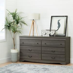 Vintage 6-Drawer Gray Maple Dresser