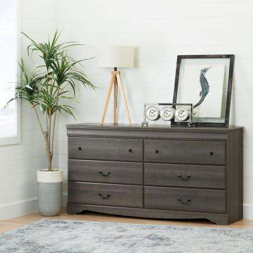 Vintage 6-Drawer Gray Maple Dresser