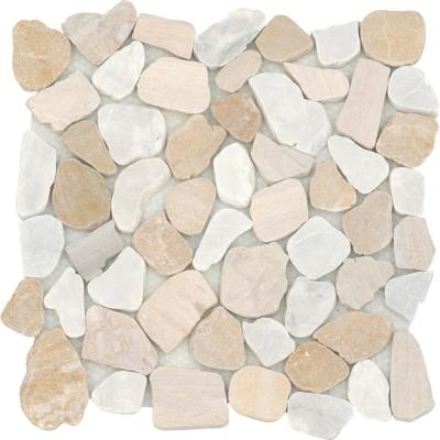 Cultura Summer Honed and Tumbled 11.81 in. x 11.81 in. x 8 mm Pebbles Mesh-Mounted Mosaic Tile (1 sq. ft.)