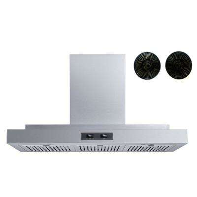 36 in. Convertible Wall Mount Range Hood in Stainless Steel with Baffle and Carbon Filters