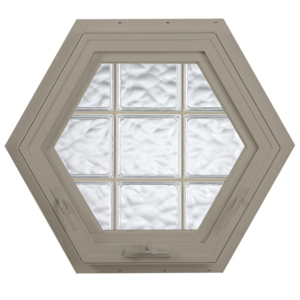 Hy-Lite 27.75 in. x 24 in. Acrylic Block Hexagon Awning Vinyl Window - Tan