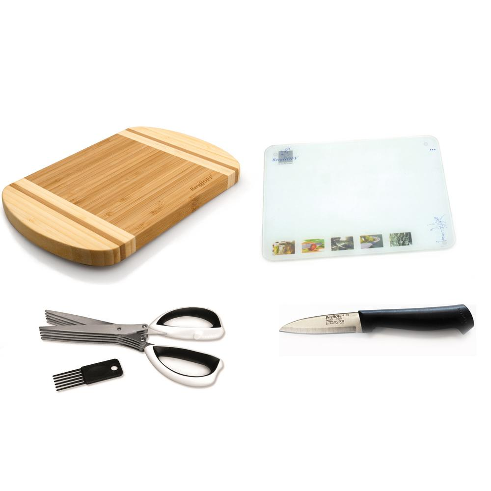 5 Piece Glass and Cutting Board and Cutlery Set