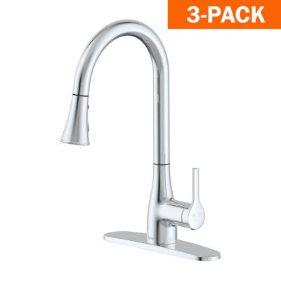 Classic Series Single-Handle Standard Kitchen Faucet in Chrome (3-Pack)