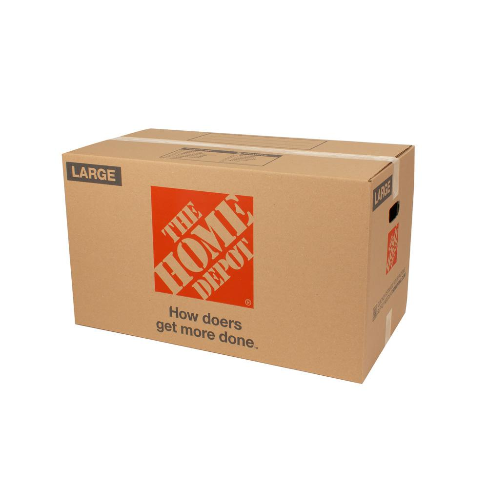 The Home Depot Large Moving Box 10-Pack (28 in. L x 15 in. W x 16 in. D) The Home Depot Large Moving Box is great for storing and shipping moderately heavy or bulky items. Ideal for kitchen items, toys, small appliances and more. This box is crafted from 100% recycled material for an environmentally responsible moving and storage option.