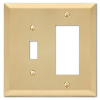 Metallic 2 Gang 1-Toggle and 1-Rocker Steel Wall Plate - Satin Brass