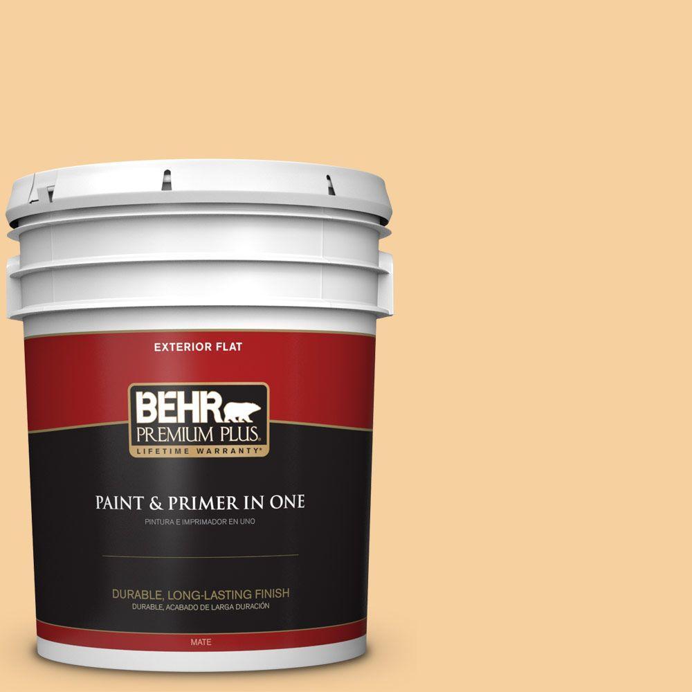 BEHR Premium Plus 5-gal. #320C-3 Honey Butter Flat Exterior Paint