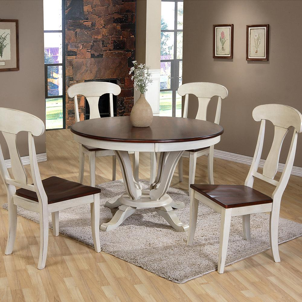 Beau Baxton Studio Napoleon 5 Piece Buttermilk And Medium Brown Wood Dining Set