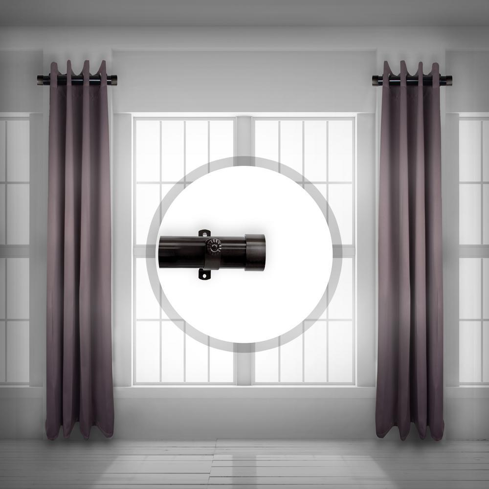 1.5 inch Side Single curtain rod Adjustable 12-20 inch long (Set of 2) - Black