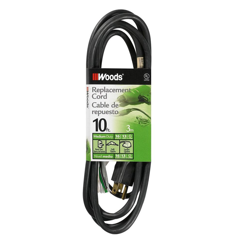 Appliance Extension Cords The Home Depot With Single Phase Motor Wiring Diagrams On 4 Wire Plug Ac 10 Ft 16 3 Sjew Replacement Power Supply Cord Black