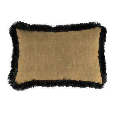 Sunbrella 9 in. x 22 in. Linen Straw Lumbar Outdoor Pillow with Black Fringe