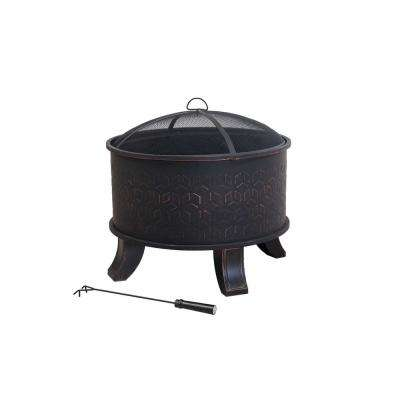 Dia. 26 in.  H x  24.21 in. Steel Fire Pit in Black with Bronze Brush Finish