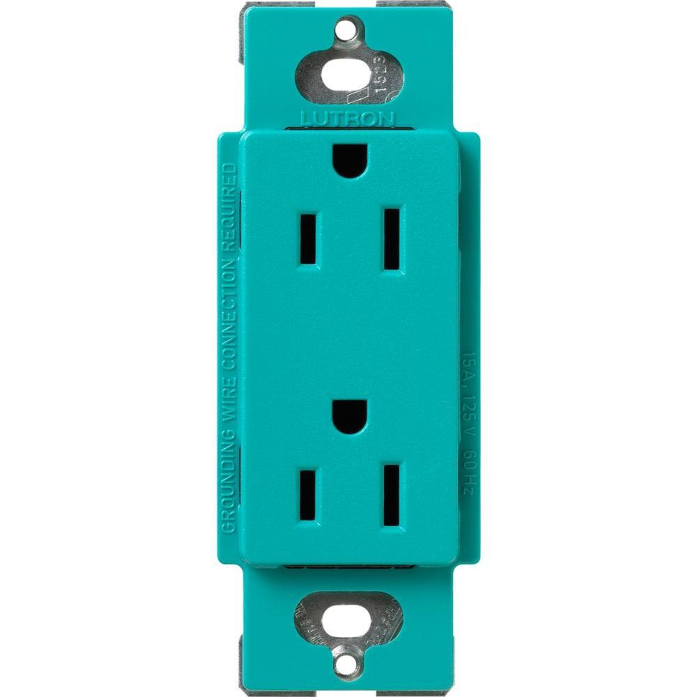 Satin Colors 15 Amp Tamper-Resistant Duplex Receptacle - Turquoise
