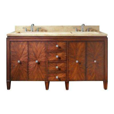 Brentwood 61 in. W x 22 in. D x 35 in. H Vanity in New Walnut with Marble Vanity Top in Galala Beige and White Basins
