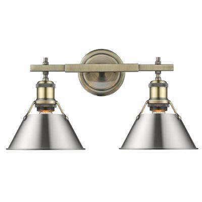 Orwell 4.875 in. 2-Light Aged Brass Vanity Light with Pewter Shade