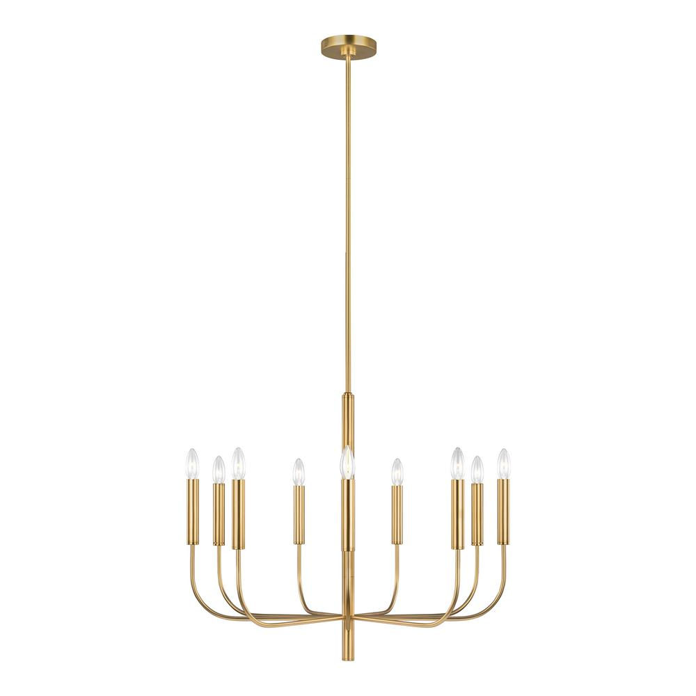 Generation Lighting Designer Collections Ed Ellen Degeneres Crafted By Brianna 30 In W 9 Light Burnished Br Chandelier With