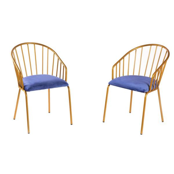 Modern Blue Velvet Fabric Upholstered Accent Arm Chair with Gold Metal Legs (Set of 2)
