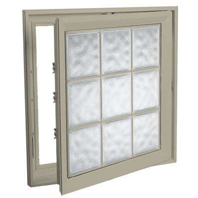 21 in. x 53 in. Right-Hand Acrylic Block Casement Vinyl Window with Tan Interior and Exterior