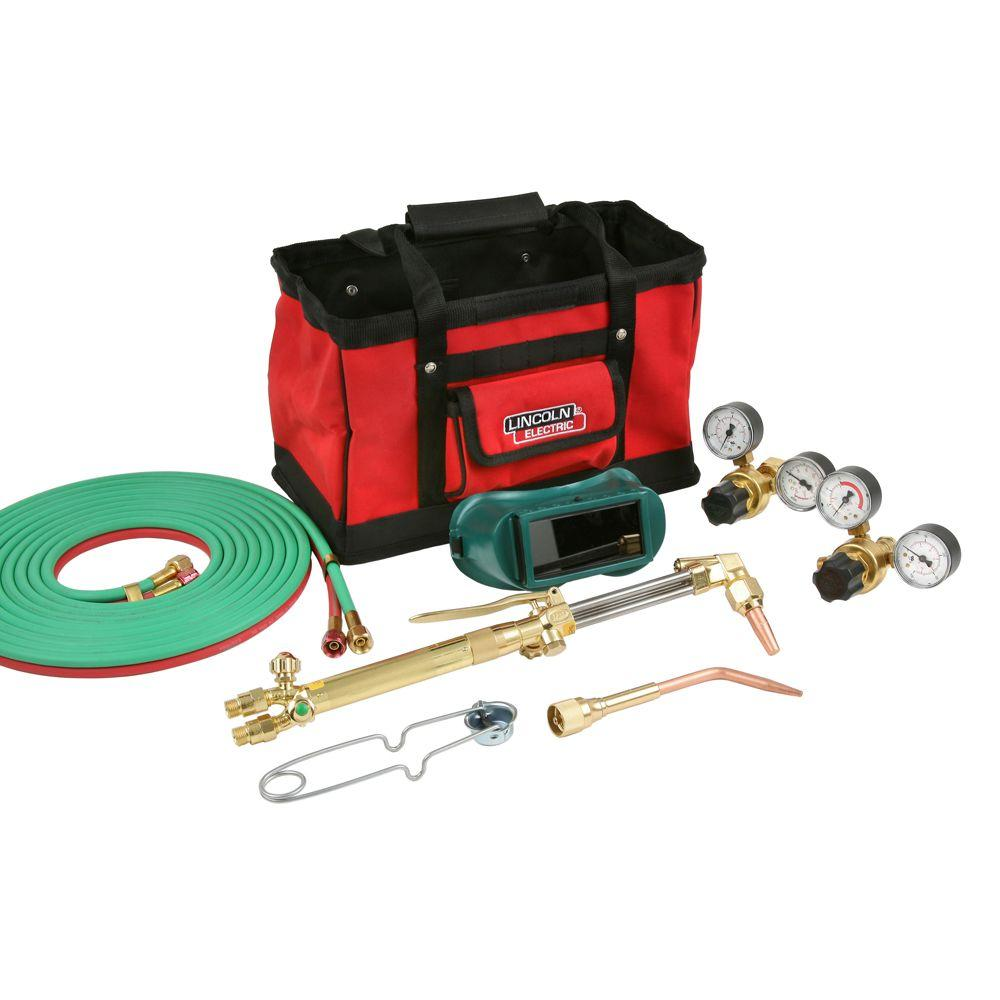 Lincoln Electric Cut Welder Kit With Torch Oxygen And Acetylene Regulators 316 In X 12 Ft Hose For Cutting Welding And Brazing