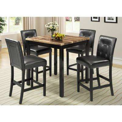 Brown 5-Piece Faux Marble Top Counter Height Dining Set