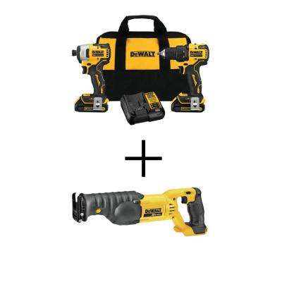 ATOMIC 20-Volt MAX Lithium-Ion Brushless Cordless Compact Drill/Impact Combo Kit (2-Tool) with Bonus Reciprocating Saw