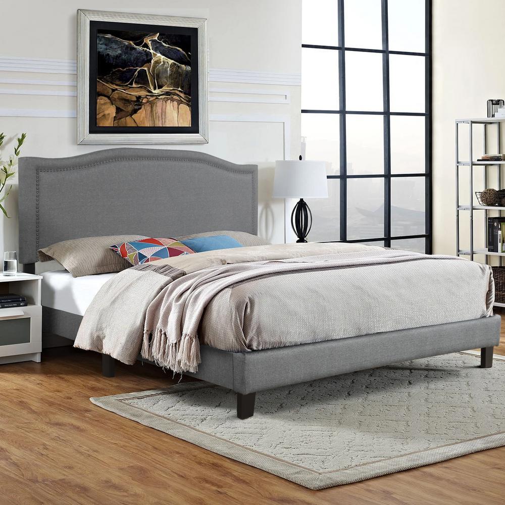 Gray King Upholstered Platform Bed