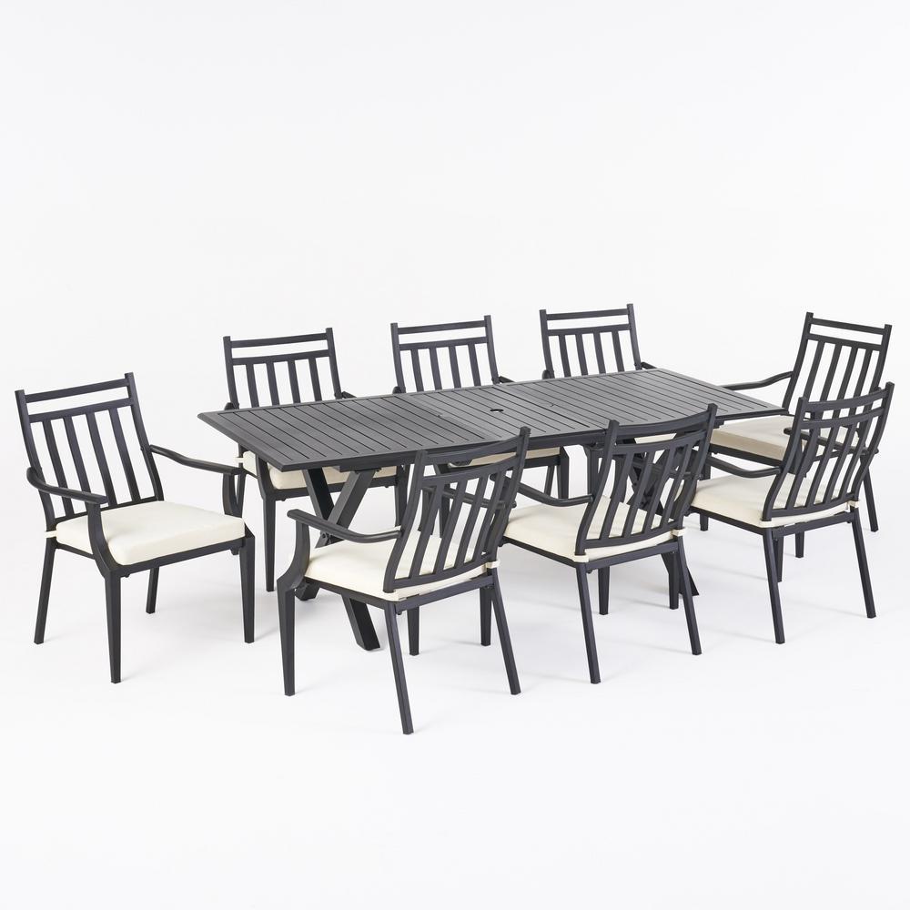 Delmar 28.75 in. Black 9-Piece Aluminum Rectangular Outdoor Dining Set with Beige Cushion