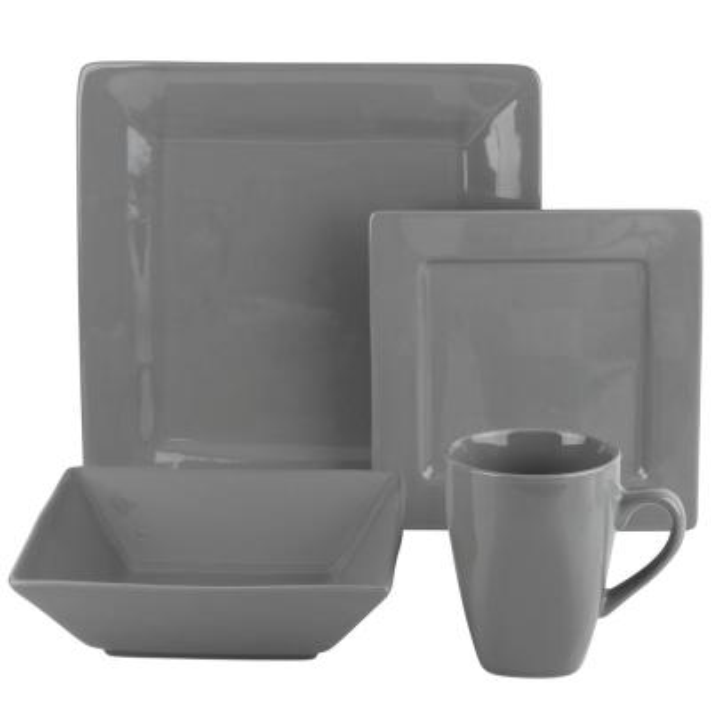 Nova 16-Piece Gray Square Dinnerware Set