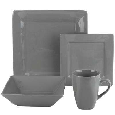 Nova 16-Piece Gray Square Dinnerware Set