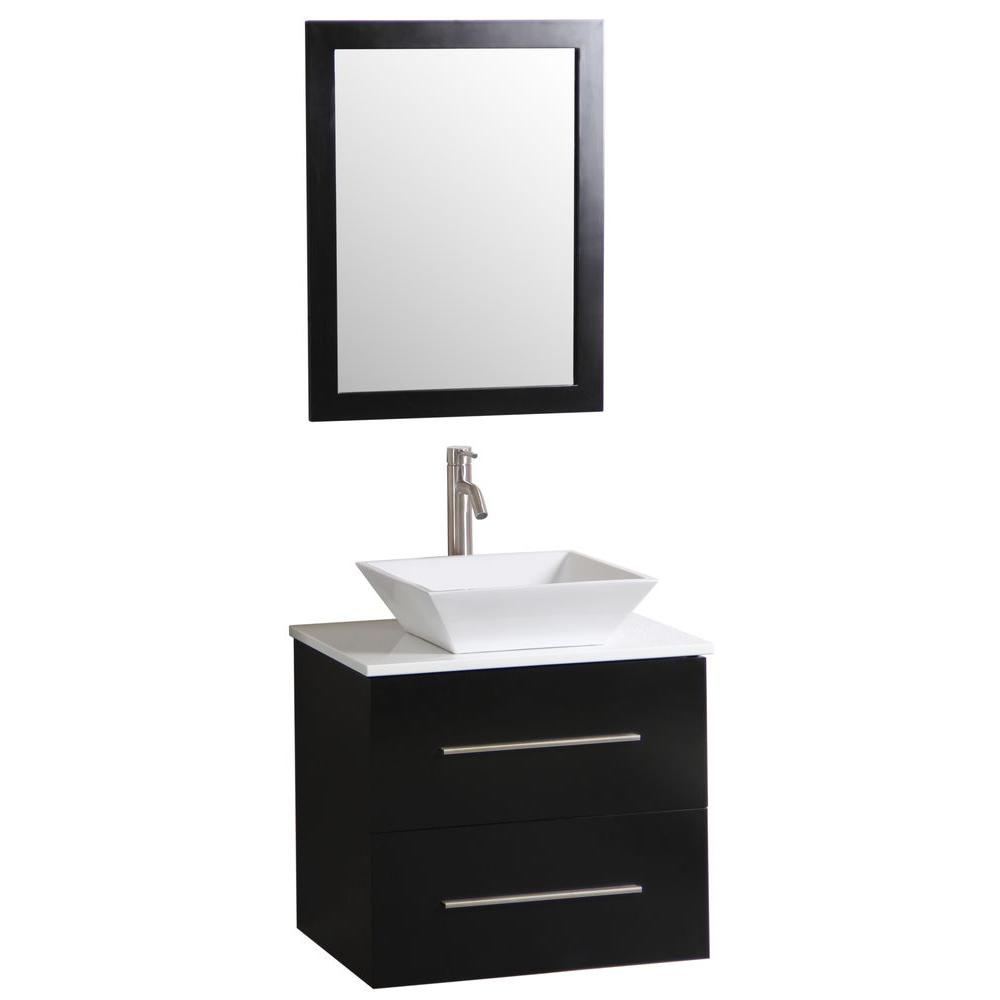 vanity in dark wenge with vitreous china vanity top in white and