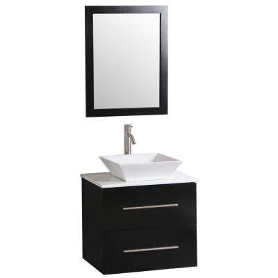 Berto 24 in. Vanity in Dark Wenge with Vitreous China Vanity Top in White and Mirror