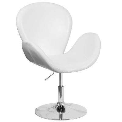 Hercules Trestron Series White Leather Reception Chair with Adjustable Height Seat
