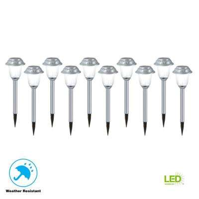 Solar Brushed Nickel Outdoor Integrated LED Landscape Path Light with Ribbed Glass Lens (10-Pack)