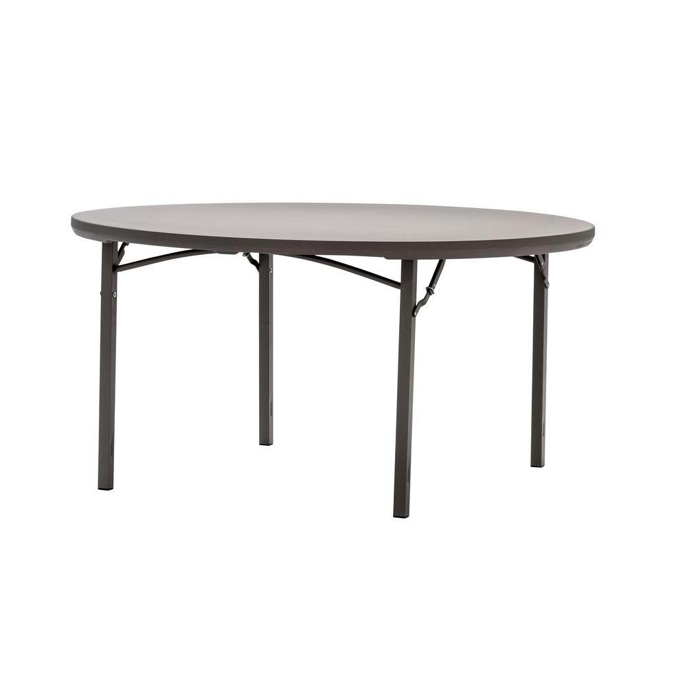 Commercial Heavy Duty 5 ft. Round Folding Table in Grey