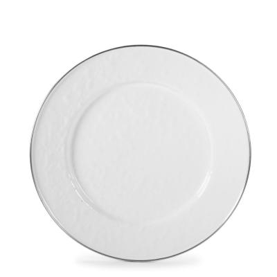 10.5 in. Solid White Enamelware Round Dinner Plate Set of 4