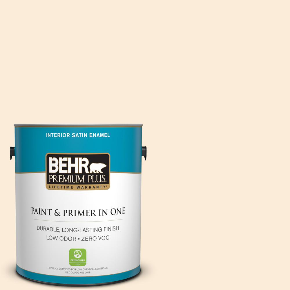 BEHR Premium Plus 1-gal. #OR-W1 White Blush Satin Enamel Interior Paint