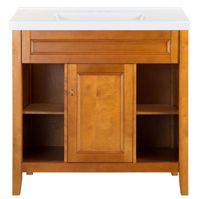 Exhibit 37 in. W x 22 in. D Bath Vanity in Rich Cinnamon with Cultured Marble Vanity Top in White with White Sink