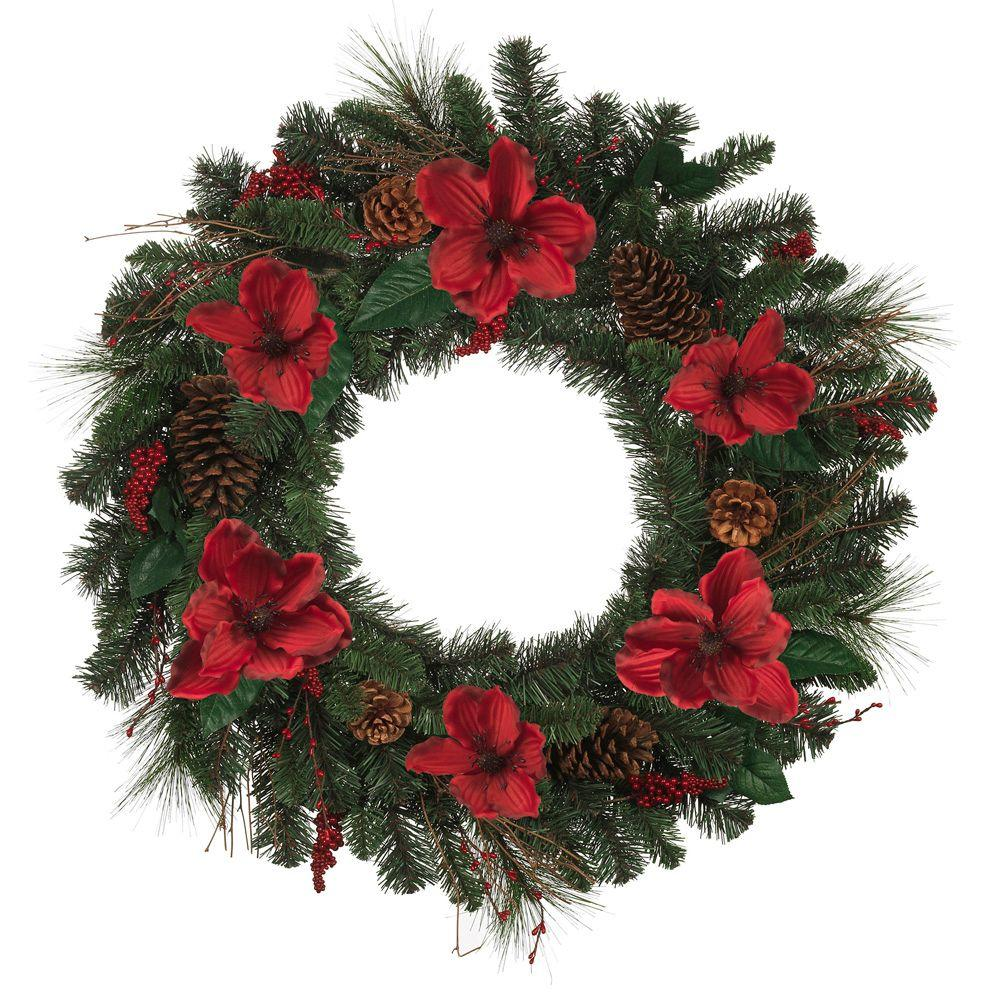 null 30 in. Magnolia Artificial Wreath