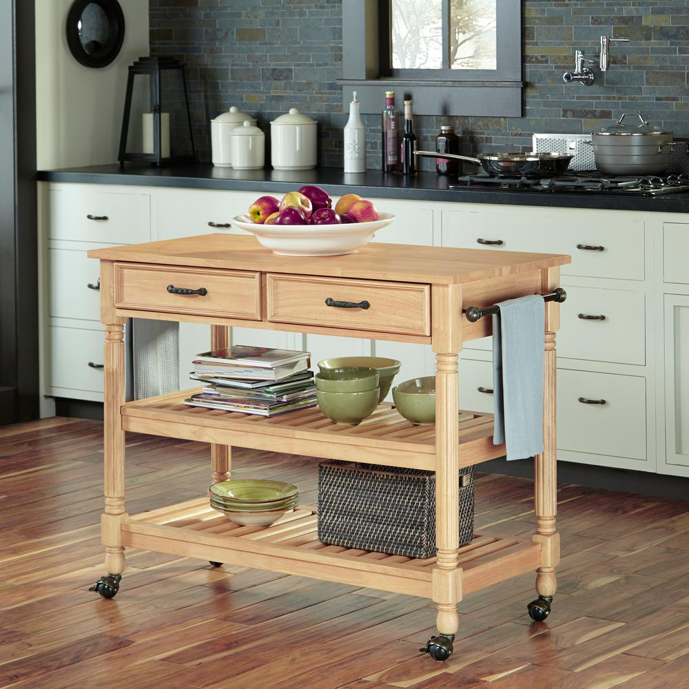 Home Styles Savannah Maple Kitchen Cart With Drawers