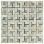 Crag Spiral Multi Sunset 12 in. x 12 in. x 9 mm Slate Mosaic Tile